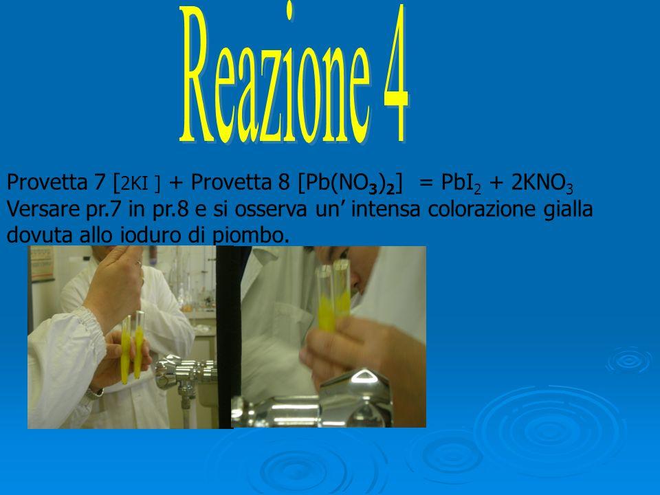 Provetta 7 [2KI ] + Provetta 8 [Pb(NO3)2] = PbI2 + 2KNO3